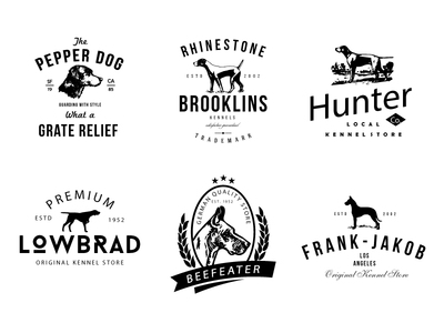 Dog Kennel Logo Badges weimaraner foxhound terrier beagle etiquette bottle logo vintage retro bird dog kennel dog