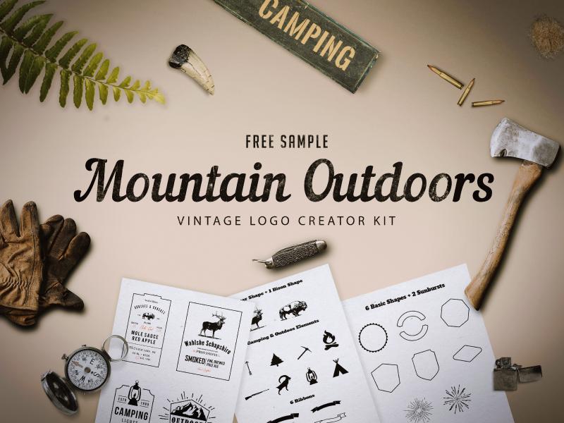 Freebie - Mountain Outdoor Vintage Logo Kit free outdoors bike mountain creator logo label hipster camping bundle badge adventure