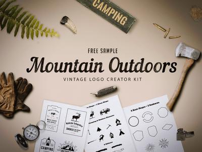 Freebie - Mountain Outdoor Vintage Logo Kit