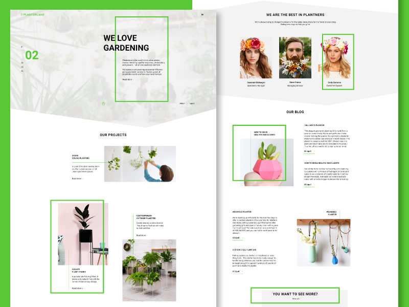 Planterland - Free Website Template website web design webdesign template organic layout botanical plant planter designer concept