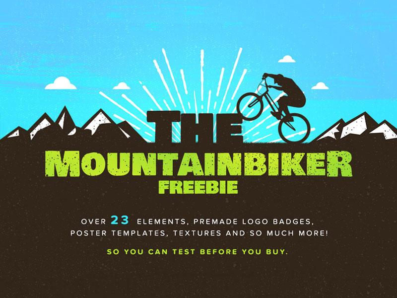 The Mountainbiker - Designer Logo Kit - FREEBIE badges vintage velo vello mountainbike mountain montagna logo creator bike bicycle bicicleta adventure