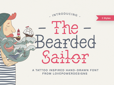 The Bearded Sailor - Tattoo Font tattoo font handdrawn sailor ink inked retro american traditional nautical vintage lettering