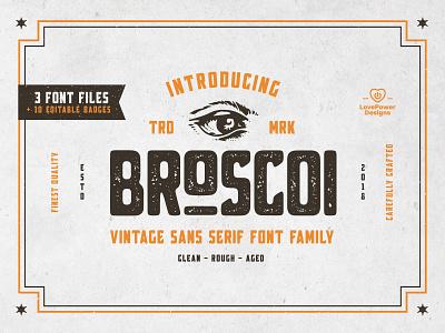 Broscoi - Vintage Font Family vintage font font bundle bundle font collection wheat barley branding distilery typography badge vintage display font design decorative