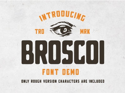 Broscoi - Free Vintage Font Demo american retro ink handdrawn font vintage font font bundle bundle font collection wheat barley branding aged rough distillery