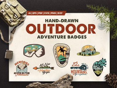 Outdoor Adventure Logos / Badges - A Mountain Adventure Logo Kit carabiner goggles national park climb arrow snowboard camping key heart handmade adventure vintage retro mountain logo kit