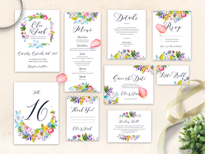 Free Wedding Invitation Suite watercolor flowers watercolor place card table number save the date wedding stationery details menu rsvp wedding invitation set magical invtation mystic invitation nature wedding set wedding invites wedding card wedding invitation