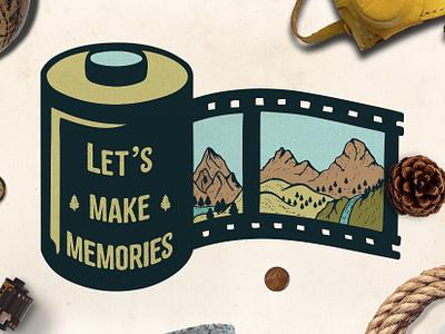 Mountain Film Roll Logo Template photo logo film logo camping tshirtdesign handmade adventure mountain badge vintage logo