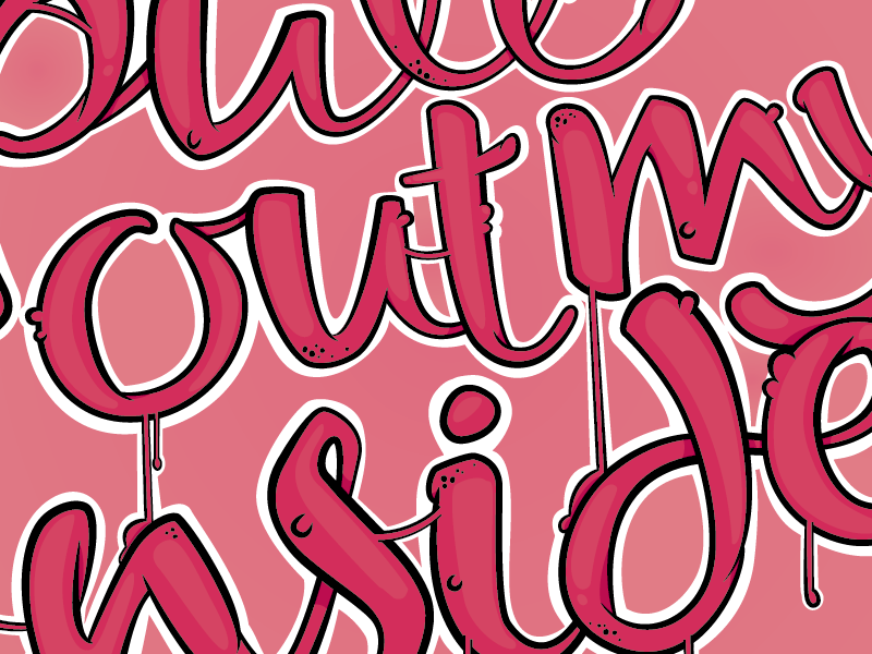 pull out my insides type typography illustration wip