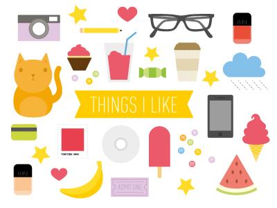 Things I Like cats coffee bananas ice cream yellow watermelon red things i like