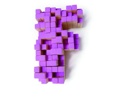 Pixel F pixel tactile typography purple typography