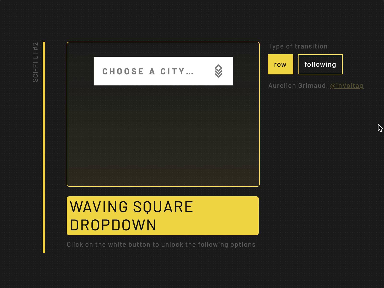 SCI-FI UI #2 - WAVING SQUARE DROPDOWN by Aurélien Grimaud on Dribbble