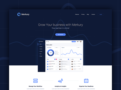 Merkury Free PSD Template landing page psd ui ux admin web dashboard free template download freebie