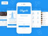 Cityguide Mobile App Free PSD