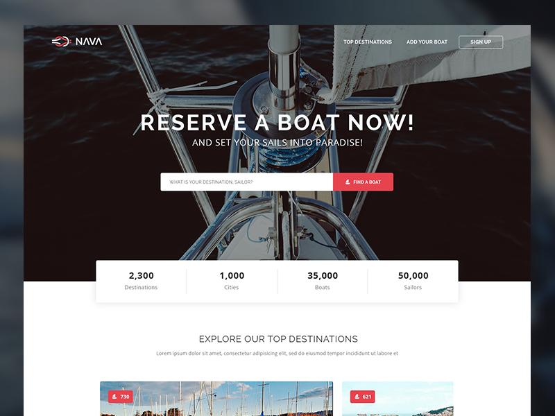 Nava Free PSD Template ux ui boat reserve book search psd template website freebies free web