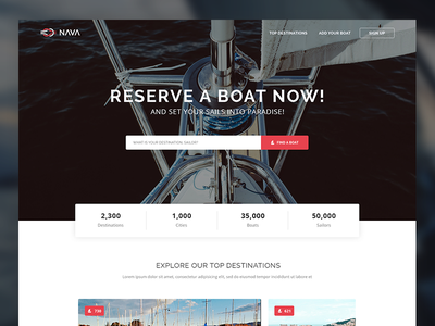 Nava Free PSD Template ux ui boat reserve book search psd template website freebies free web