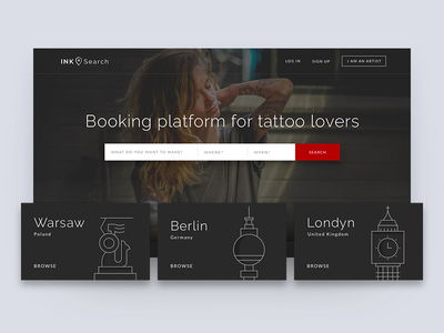 InkSearch Homepage dark illustration city booking tattoo homepage web ux ui