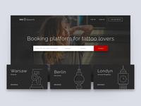 InkSearch Homepage dark illustration city booking tattoo homepage web ux ui