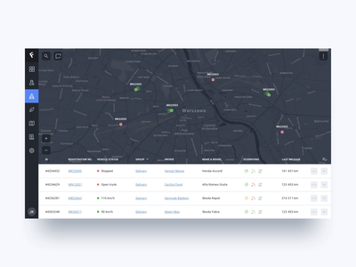 Fleet Management App tracking principle animation statistics map drivers car dashboad web app ui ux