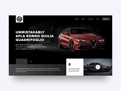 Alfa Romeo Website Concept carousel alfaromeo vehicle car animation concept website ux ui design web