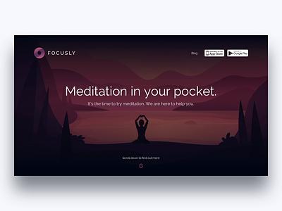 Focusly - Meditation & Relax Landing Page principle animation illustration mobile app website web ux ui