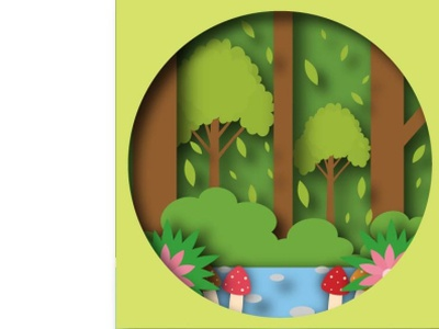 River Forest view beautiful outdoor tree landscape green river nature forest illustration icon graphic design flat design art