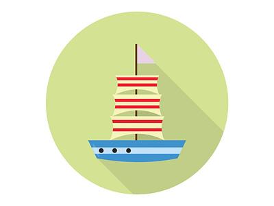Sailboat ocean vacation ship sail boat yacht travel sea sailboat illustration icon graphic design flat design art