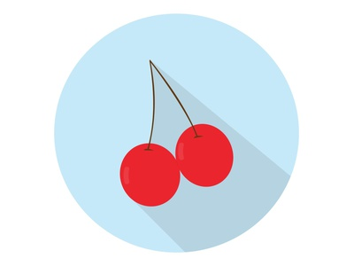Cherry Fruit juicy healthy sweet food berry red cherry fresh fruit illustration icon graphic design flat design art