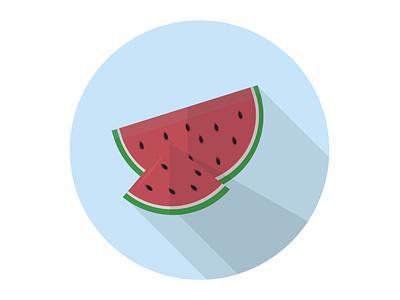 Watermelon summer juicy green healthy food sweet red fruit watermelon illustration icon graphic design flat design art