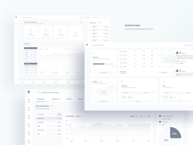 Asseco ePromak Next - wireframes 3 mockups wireframes trading banking ux ui financial app trading platform investing bank app investment ux ui ui design dashboard interface uxui ux design