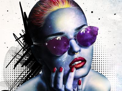 ColorizedMe / poster / illustration patterns colors collage print art visualart graphics design graphicdesign woman universe