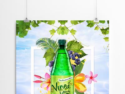 Vinea // poster / inspiration graphicdesign graphicart art digitalart poster flowers bottle brand drink fresh summer