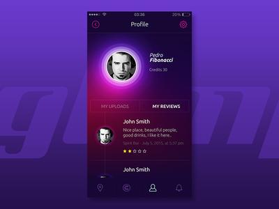 Profile Screen // My Reviews / app profile user ux ui social customer restaurants mobile leaddesign photos application