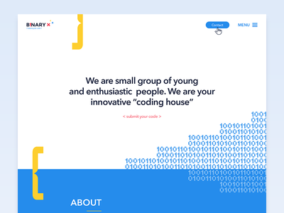 "Binary X // Web for ""coding house"" / ui ux webdesign web vector illustration illu digital coding code binary"