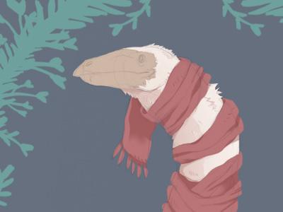 Christmas Card 2016 warm cold scarf dinosaur feathered therizinosaurus card christmas