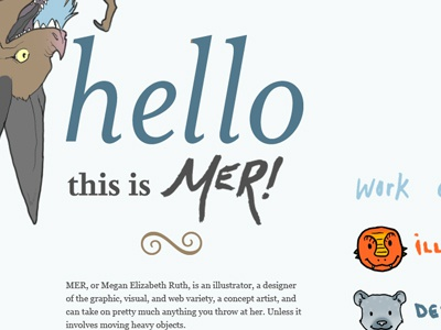 HelloMER Homepage mer megan ruth portfolio website web design homepage