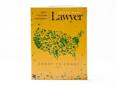 Notre Dame Lawyer Magazine Cover cover shamrock illustration magazine lawyer