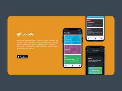 Parallel Portfolio Callout callout heart ios ux dating app app store social orange devices iphone app dating