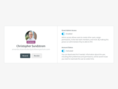 User Card invite admin permissions settings card user