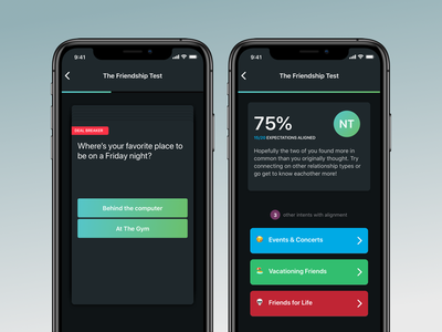 Friendship Test buttons progress bar progress ui quiz app friends results swipe test quiz
