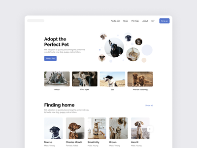 Adopt the Perfect Pet interface design ui ux design web minimalistic minimal simple white ui clean