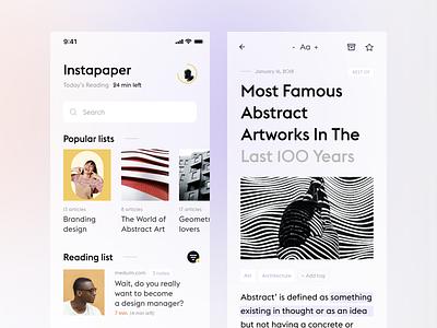 Instapaper concept design ui ux interface minimalistic ios minimal simple app white ui clean
