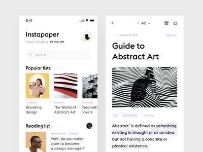 Instapaper concept mobile product design minimal simple minimalistic design ui ux clean white app article reading