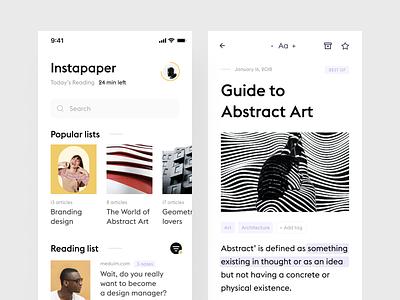 Instapaper concept mobile product design minimal simple minimalistic design ui ux clean white app article reading