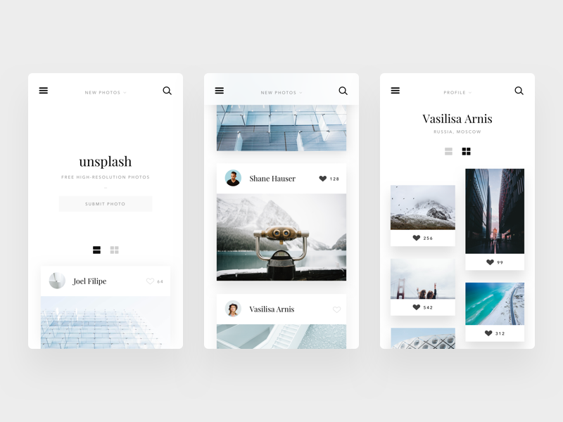Unsplash website concept #1 web layout sketch mobile design ux ui