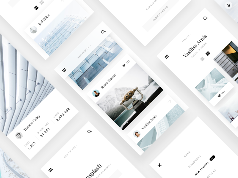 Unsplash website concept #2 minimalism flat clean web ux ui sketch mobile layout design