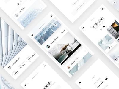 Unsplash website concept #2 minimalism flat clean web ux ui sketch mobile layout design