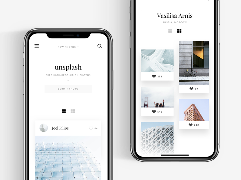 Unsplash website concept #3 iphonex white unsplash ui simple photography mobile minimal light clean