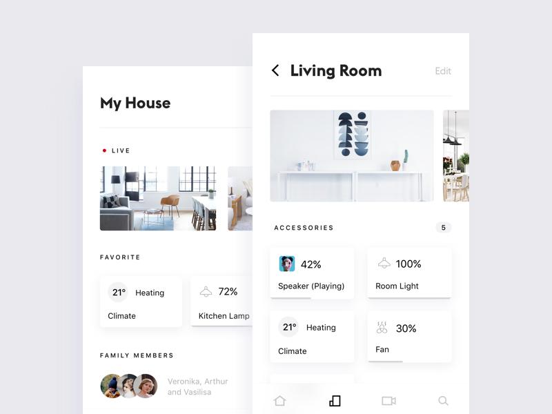 Smart Home App #2 white ui simple mobile minimalistic ios home design clean