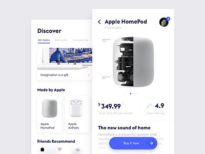 E-commerce App #1 homepod shop e-commerce interface white ui simple mobile minimal ios clean app