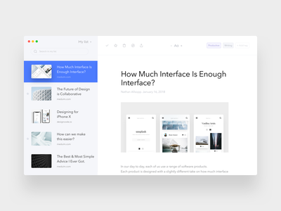 Pocket Desktop App interface app white clean osx news reader minimal ui